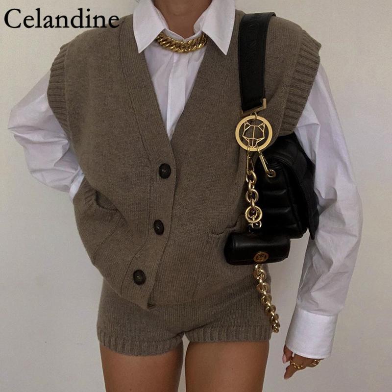 Celandine V 넥 민소매 니트 스웨터 카디건 여성 한국어 Preppy 스타일 버튼 포켓 점퍼 느슨한 캐주얼 대형 탑스 여성용 니트
