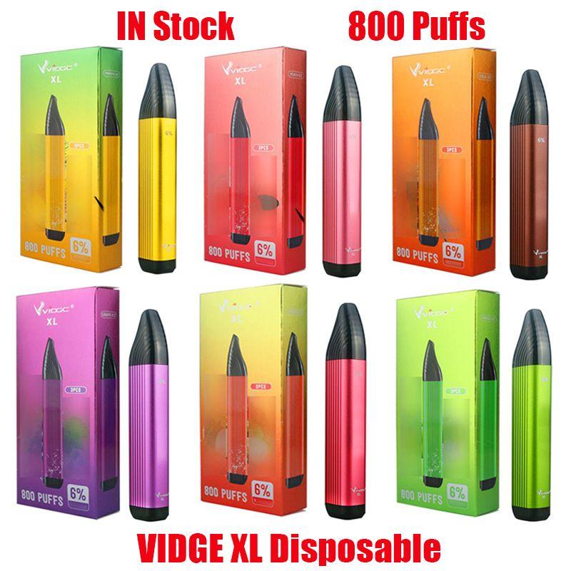 Original Vidge XL Kit de dispositivo de disparo desechable E-cigarrillos 800 Puffs 500mAh Batería 3ml Cartuchos precolgados Cartuchos Vape Stick Pen vs Puff Bar Plus XXL 100% Auténtico