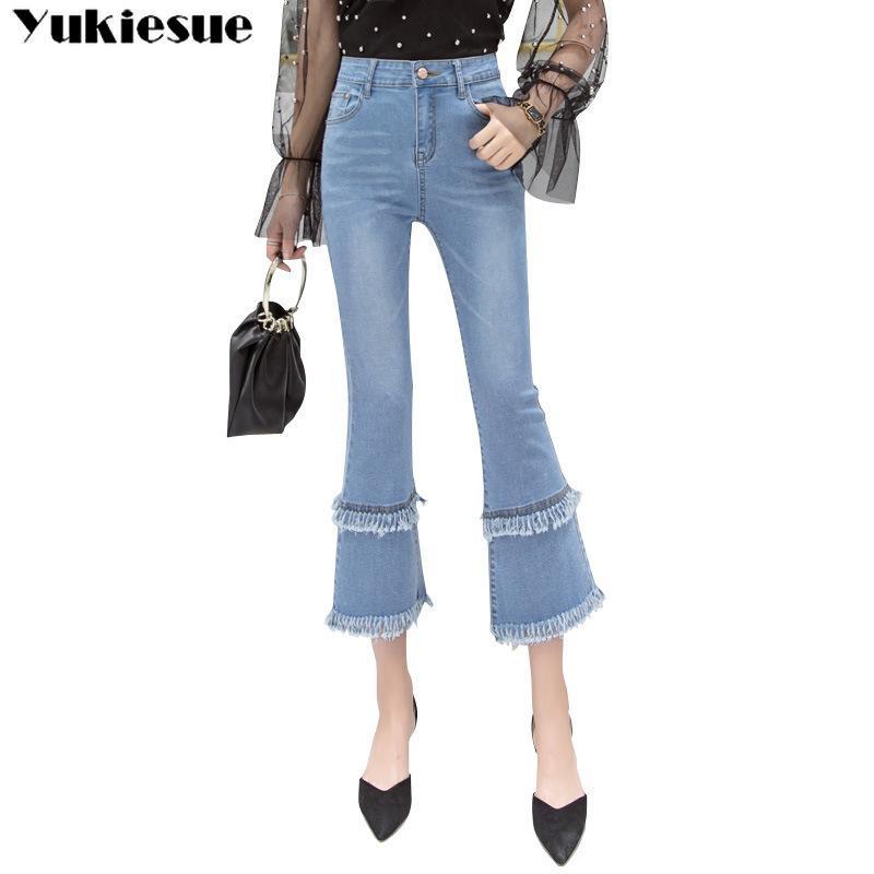 Frauen Jeans Femme Plus Größe Slim Stretch Hohe Taille Weibliche blaue Vintage Flare Denim Hosen Push Up Quaste Damenhose 210412