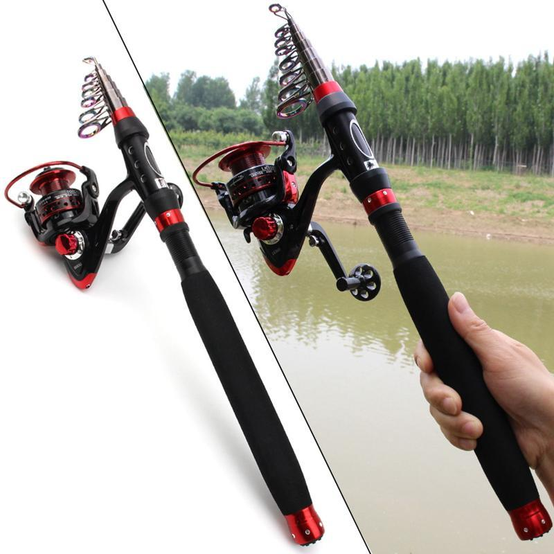Boat Fishing Rods 1.8m2.1m2.4m2.7m3.0m Carbon Fiber Rod Portable Spinning And Reel Set Vara De Pesca Com Molinete