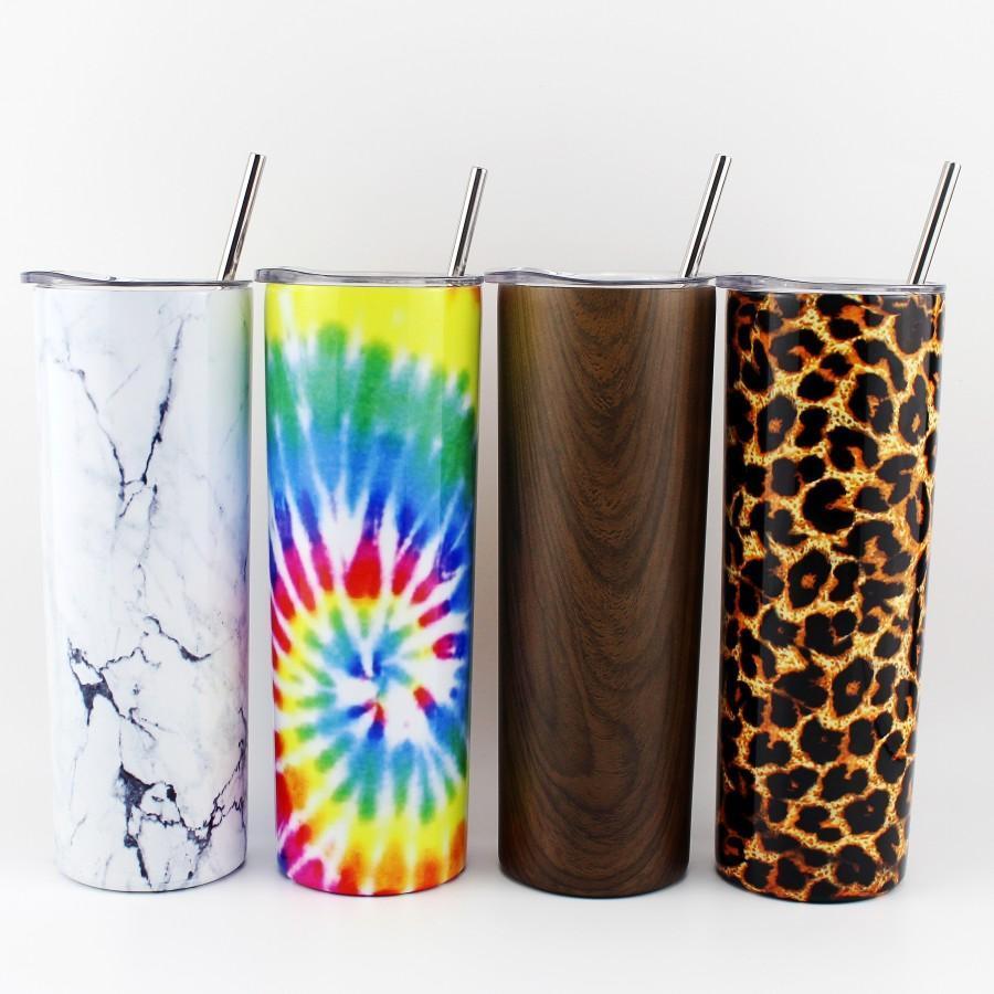 20oz Skinny Tumblers Stainless Steel Coffee beer Mugs Vacuum Double Wall With Sealed Lid Metal Straws Clean Brush WWQ