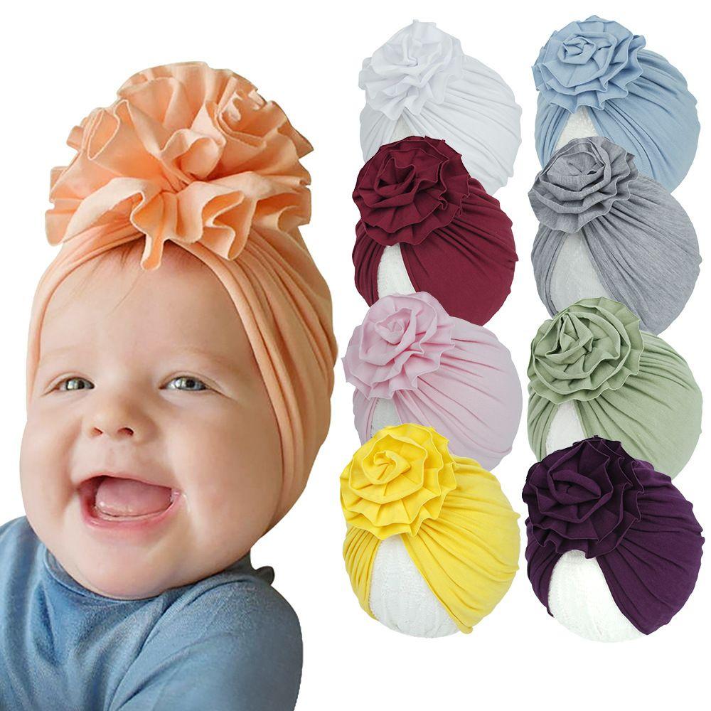 5pcs Baby Neonato Cap Bambini Bambini Ragazzi Ragazzi Cappelli a fiori in cotone a maglia Cappelli Cappelli Cappelli Cappelli da 20 colori Accessori per capelli Boutique Bambini