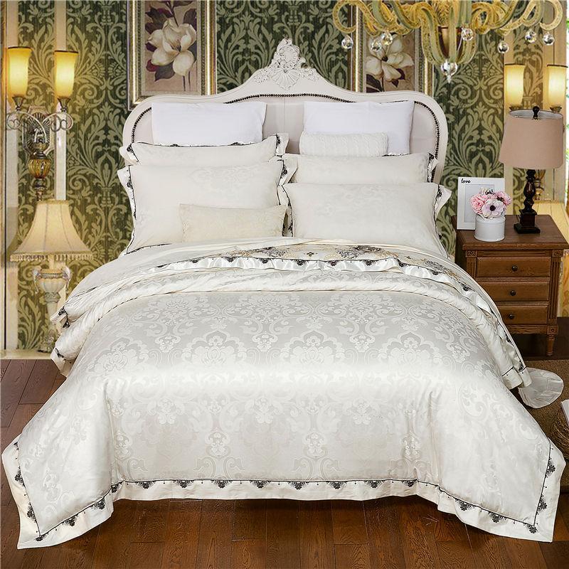 4 peças brancas jacquard seda algodão luxo cetim conjunto de cama rei Queen size tamanho colecionado laço bordado edredom capa folha almofada princesa home bedclothes