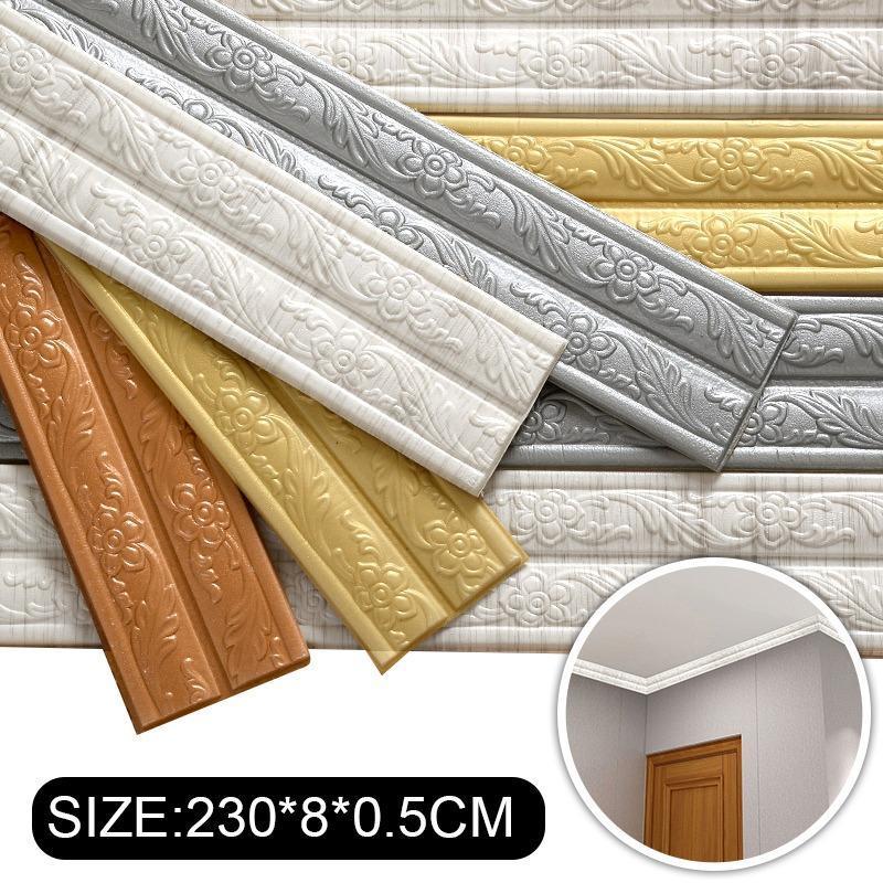 Yapışkan esnek kalıp trim 3D dekoratif duvar çizgileri duvar kağıdı sınır peel ve sopa evi el DIY dekorasyon duvar kağıtları