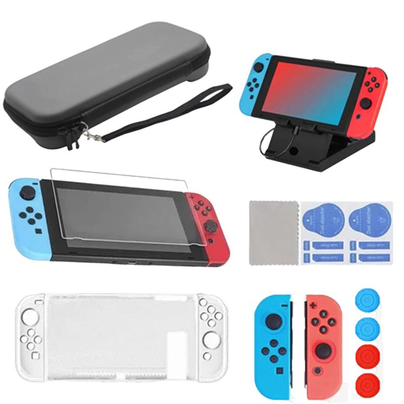 16 in 1 Accessories Kits for Switch game protection package Charging Stand/Silicone Protective Case/Carrying Case/Screen Protector