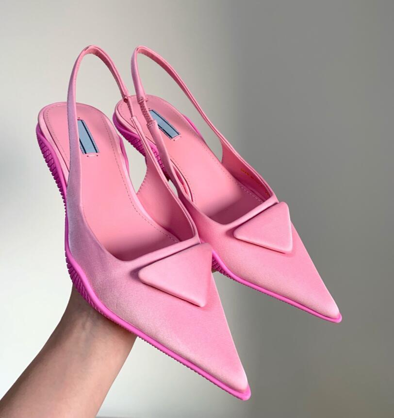 2021 Été Nouveauté Sandales pointues Sandales à talon faible Femme Cuir peu profonde bouche talons chat de chat luxe Design Simple Texture Simple Texture Chaussures Fashion