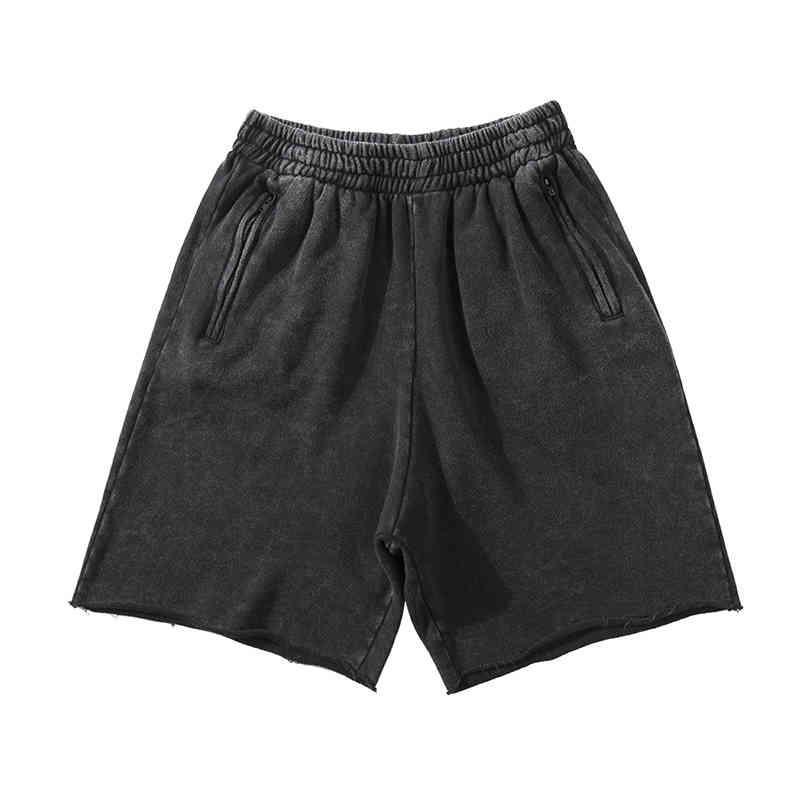 Shorts masculinos sólidos kanye lavado tamanho casual casual shorts masculinos com cordon zipper bolsos streetwear vai ver retrô em calças de altura do joelho