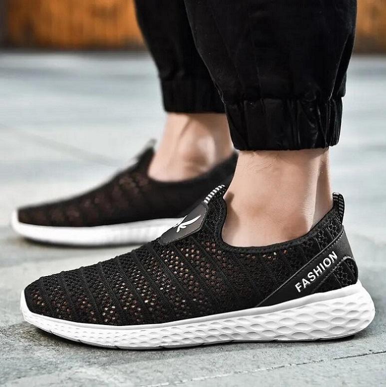 Erwe134 Açık Spor Ayakkabı Erkekler Hafif Koşucu Sneakers Mesh Nefes Dokuma Dantel Yukarı Jogging Yürüyüş Siyah Beyaz