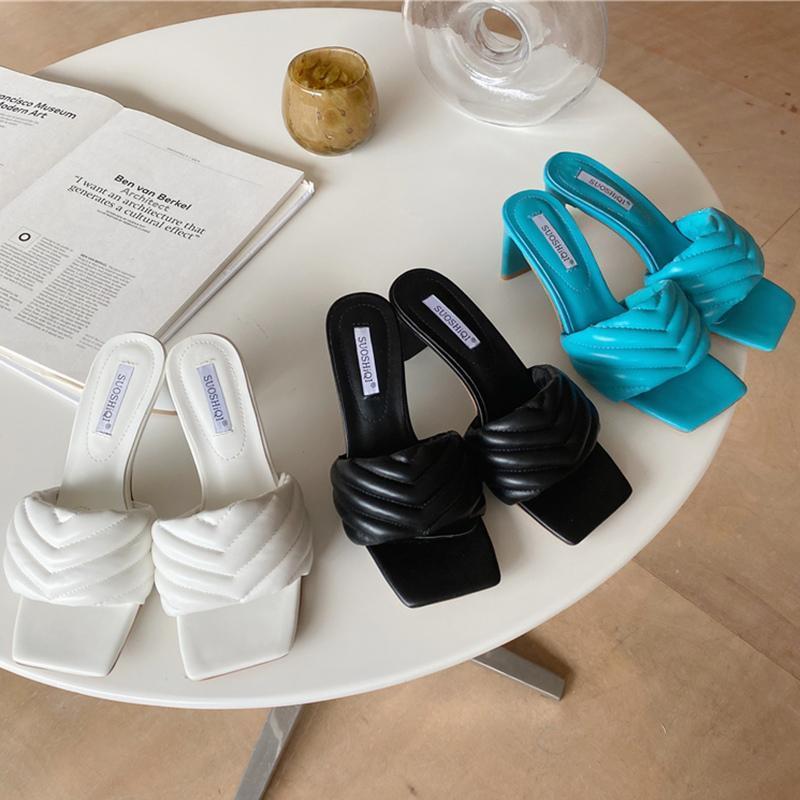 Luxo Design Slides Mulheres 7cm Altos Saltos Mules Fetiche Sandálias De Verão Baixo Chinelos De Prom Plataforma Stripper Stripes