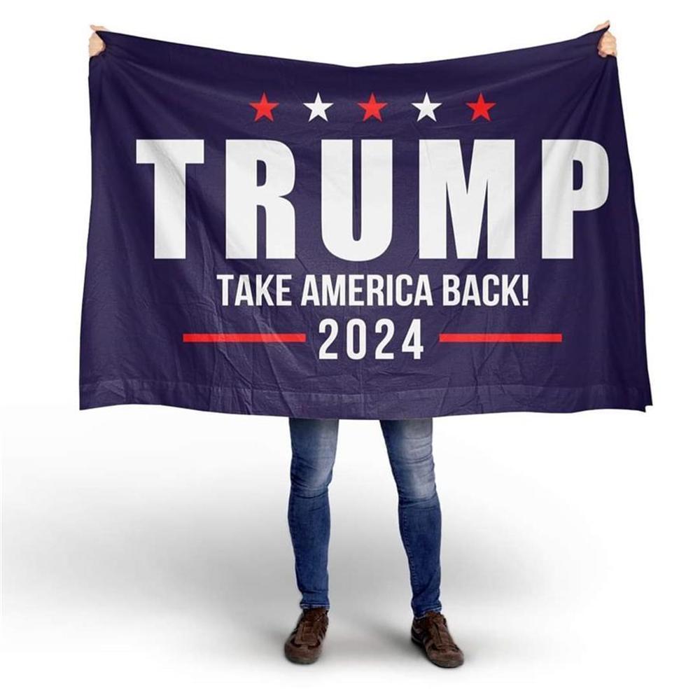 트럼프 2024 복용 아메리카 블랙 하단 더블 총 플래그 90 * 150cm 선거 2024 트럼프 플래그 DHL 배송