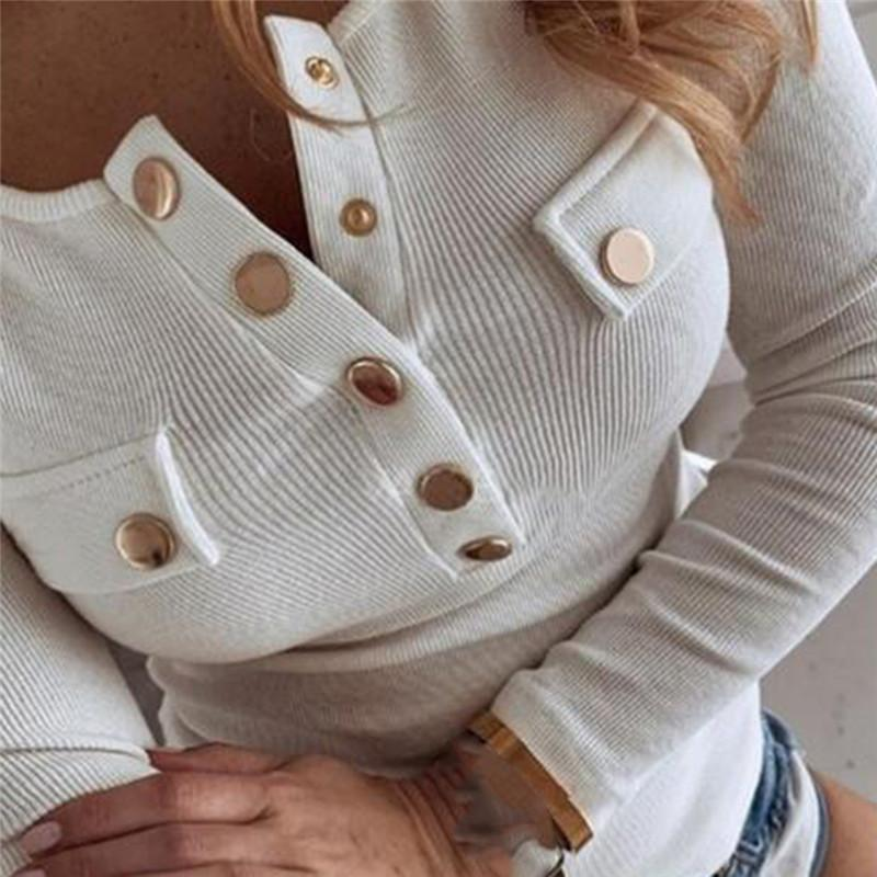 2021 Baumwollfrauen Frühling O Neck Pullover Langarm T-Shirt Lose Freizeit Buttons Feminina Tee Weibliche Tops Plus Größe S-5XL 210421