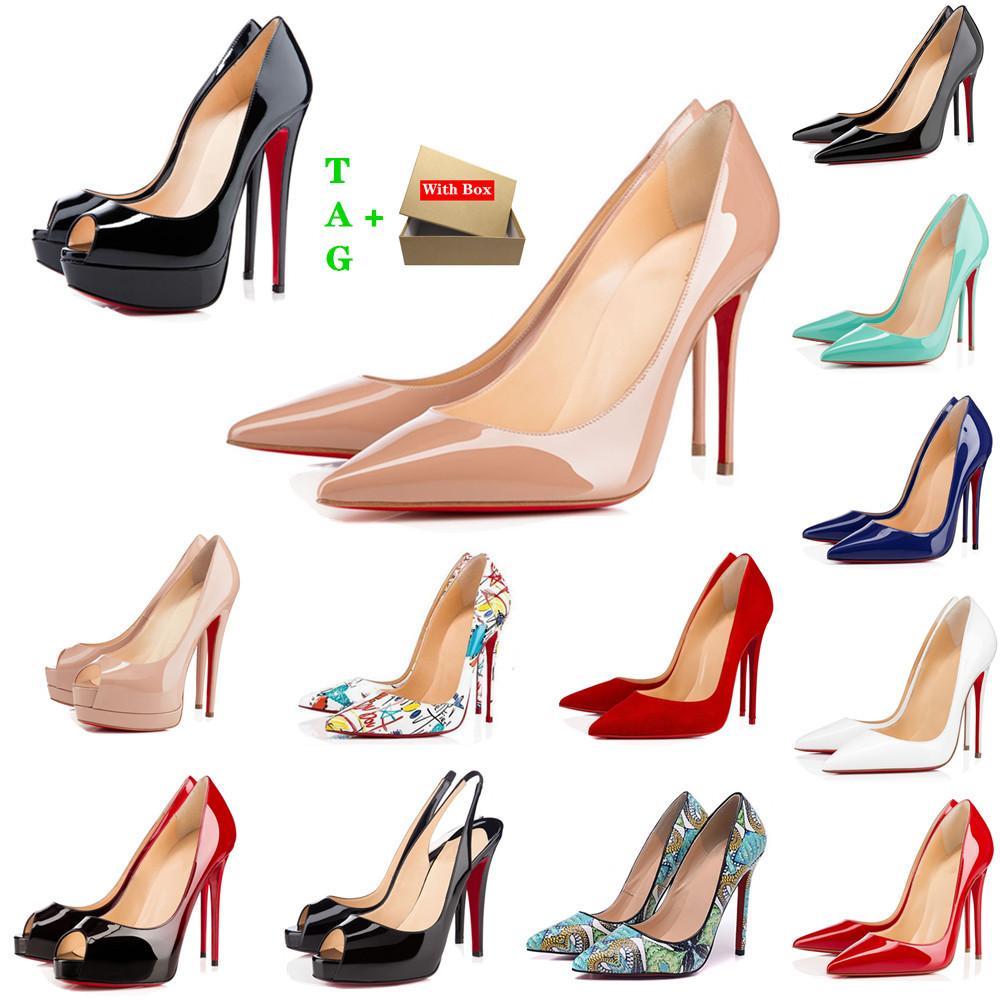 Marke Frau Rote Bottoms High Heels Patent Leder Platform Peep-toes Sandalen Designer Potenze Zehe Kleid Schuh Luxus Damen Shallow Mund rots Sohle Pumps Hochzeit Schuhe