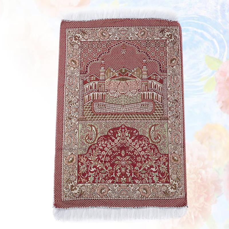 Carpets Red Printing Prayer Mat Muslim Islamic Cotton Yarn Rug Rectangular Worship Carpet Meditation Pilgrimage Blanket