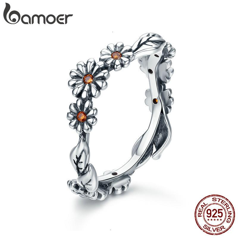 Bamoer 100% 925 Sterling Twisted Margarita Flor Femenina Anillos de dedo Para Mujeres Boda Sier Jewelyry Anel Scr298