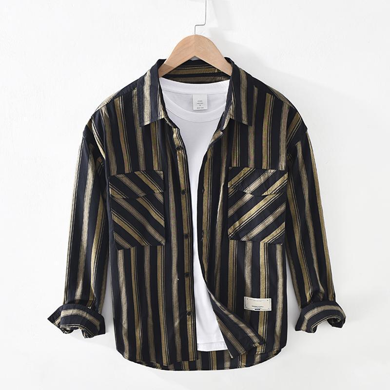 일본 스타일 프리미엄 품질 100 % 코 튼 스트라이프 패턴 남성 클래식 빈티지 옷깃 셔츠 더블 포켓 긴 소매 블라우스 남성 남성 캐스카