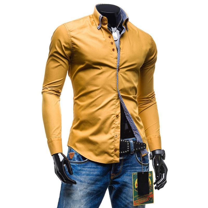 남성 캐주얼 셔츠 고품질의 조수 가을 공식 슬림 버튼 - 다운 긴 소매 드레스