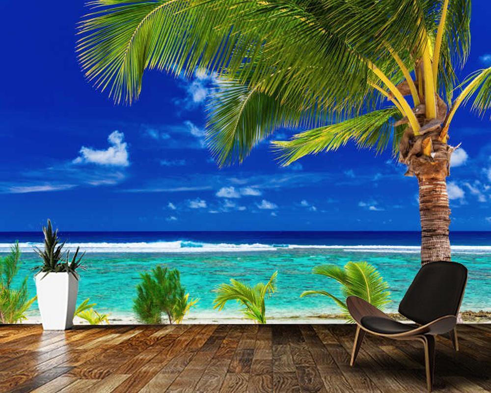 Wallpapers Papel De Parede Sea And Blue Sky Palm Tree Beach Natural Landscape 3d Wallpaper Mural,living Room Tv Wall Bedroom Home Decor