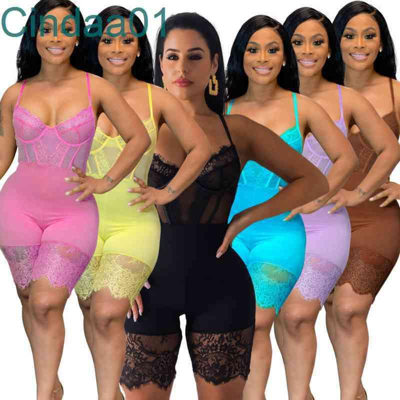 Women Jumpsuits Deisgner Slim Sexy Solid Colour Corset Cartilage Sling Lace Casual Onesies One Piece Pants Ladies Rompers 6 Colours XS-XXL