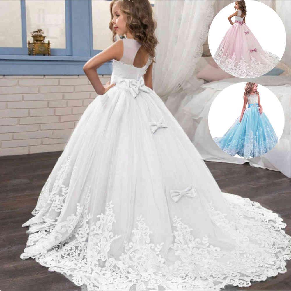 2021 Sommer Mädchen Drlong Brautjungfer Kinder Kleider für Mädchen Kinder Prindrparty Hochzeit DR3 10 12 Jahre Vestido x0509