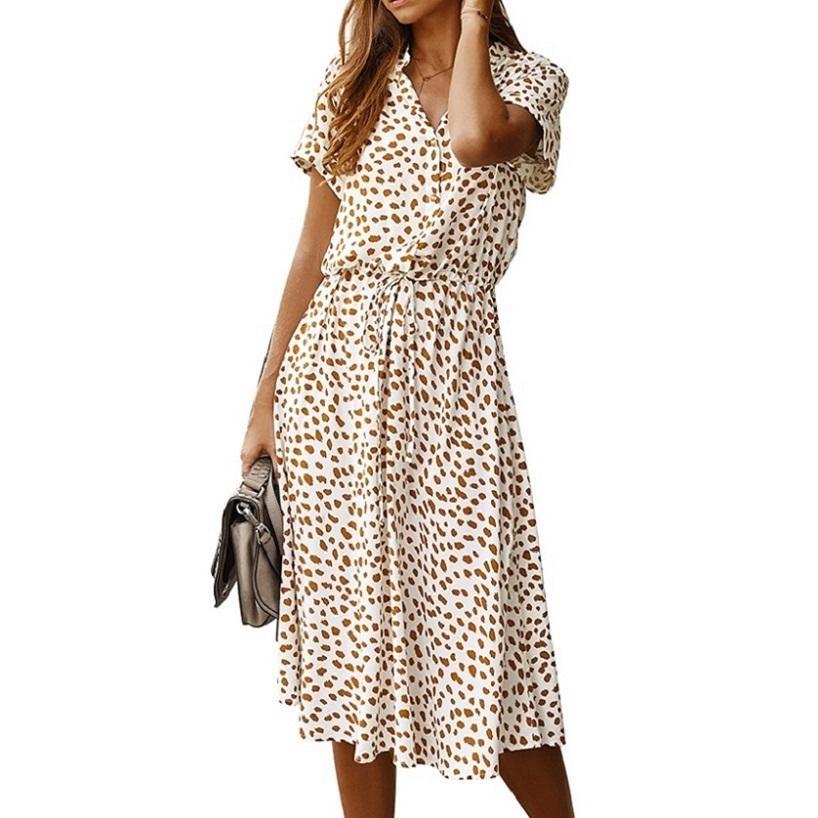 Nuevas señoras Sexy Leopard Estampado Vestido de verano Mujeres Casual Camisa Midi Vestido Mujer A-Line Flow Bohemian Women Vestido de playa Vestidos X0521