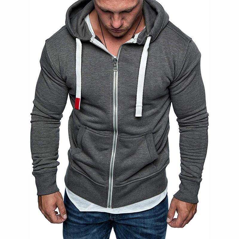 Male Jacket Coats Hoodies Autumn Winter Drawstring Pocket Hooded Sweatshirt Long Sleeve Zip Slim Coat Mens Plus Size