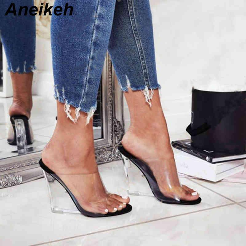 Aneikeeh New Summer Concis PVC Frauen Hausschuhe Transparente Keile Runde Zehenschuhe Slides außerhalb Casual 35-40 Black Aprikosen 210413