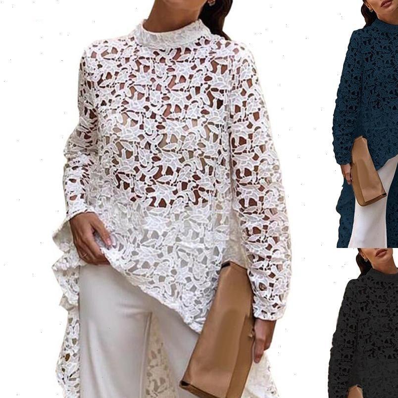 Bluz Bahar Kadın Gömlek Sonbahar Moda Düz Renk Oymak Dantel Yüksek Düşük Top Yuvarlak Boyun