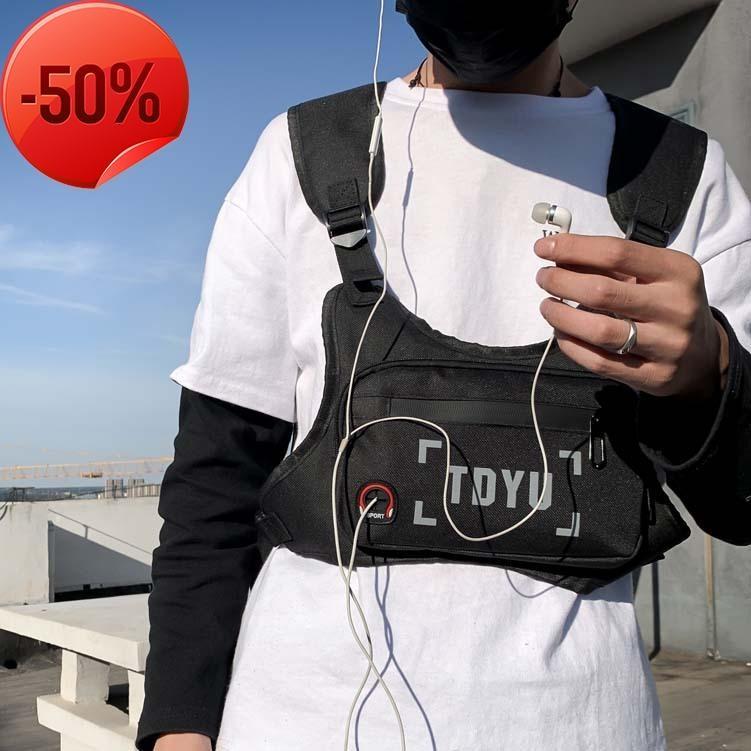 Ins super fire bungee bag women's tooling slung fashion brand hip hop tactical waist functional wind dark chest man