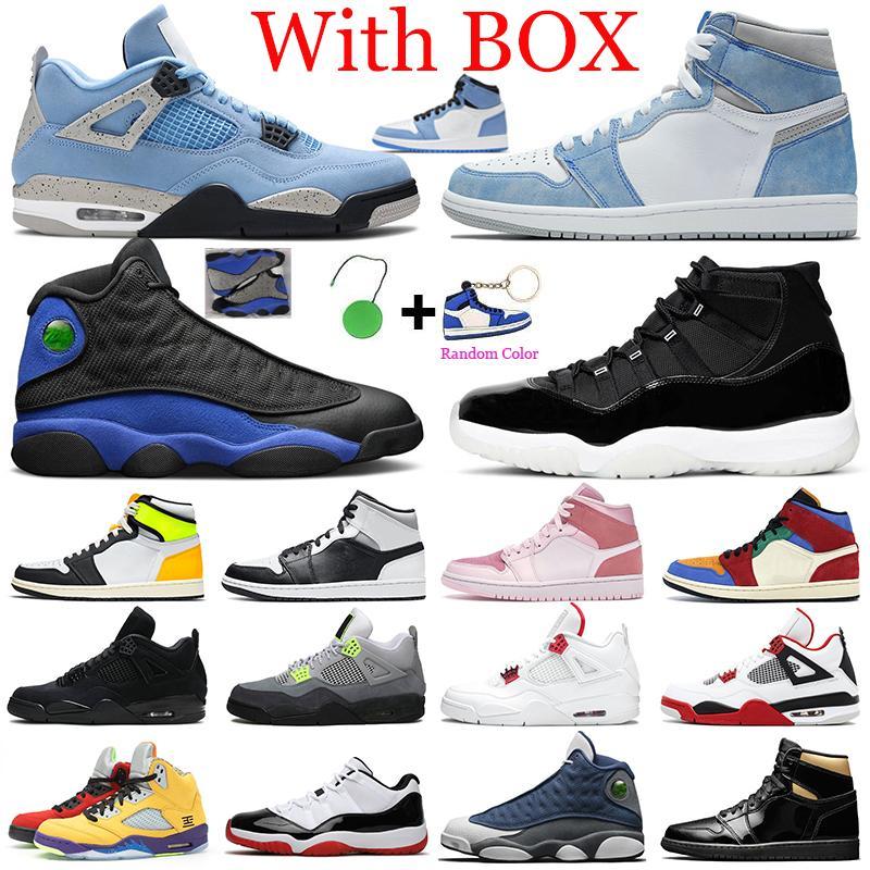 أحذية كرة سلة جديدة Jumpman للرجال 1s جامعة زرقاء 11s Concord 12s Hyper Royal 13s Fire Red 4s 5s أحذية رياضية للرجال والنساء