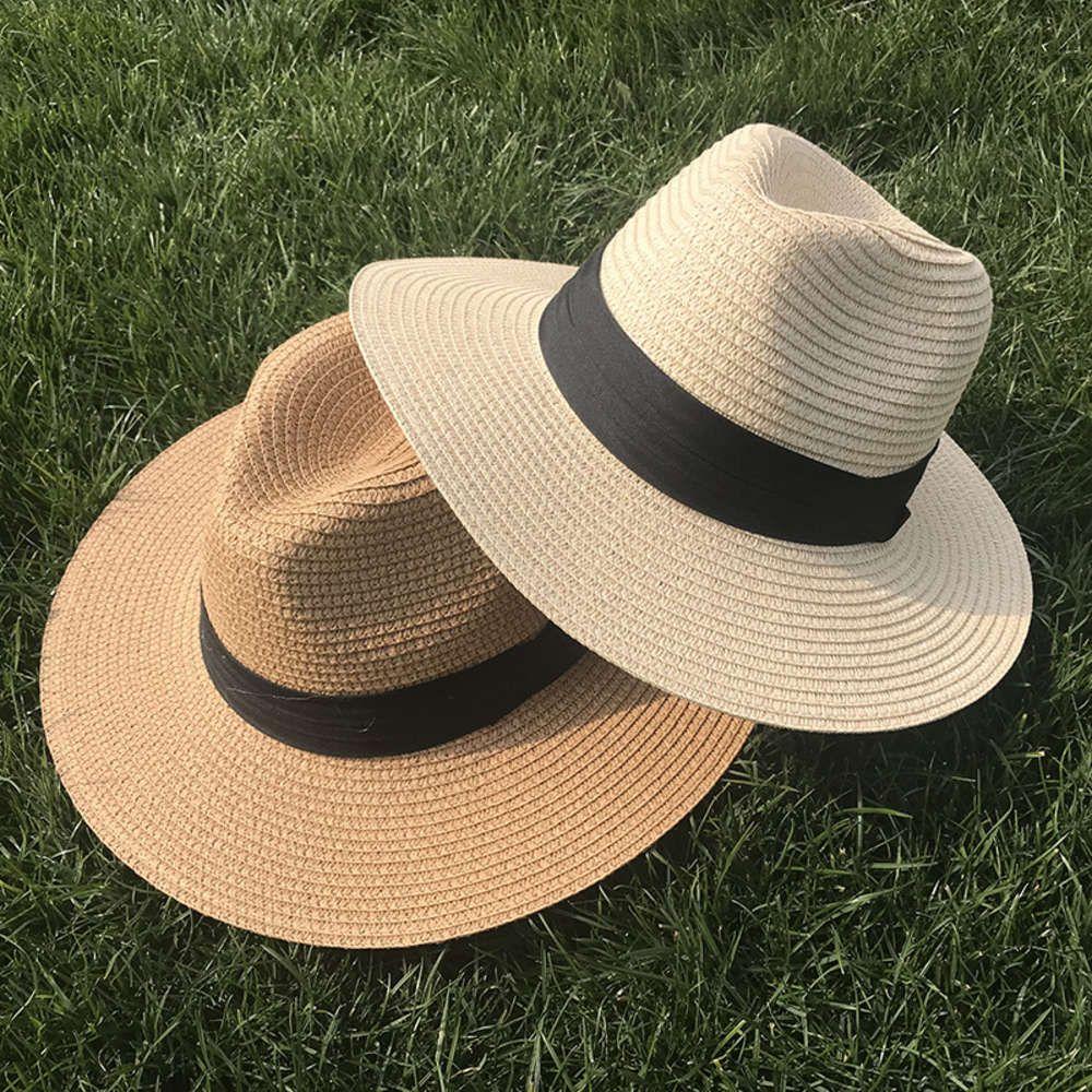 Cappello della moda femminile della paglia della paglia del jazz della paglia del mare del mare della spiaggia di marea, cappello da sole all'aperto in primavera ed estate