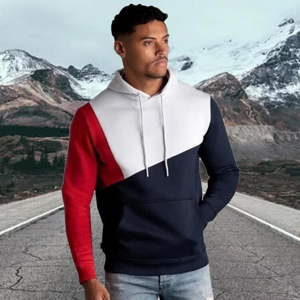 Herren Hoodie Warme mit Kapuze Sweatshirt Fleece Slim Color Stitching Streetwear Patchwork Hoody Pullover Kleidung Outwear Tops 2021