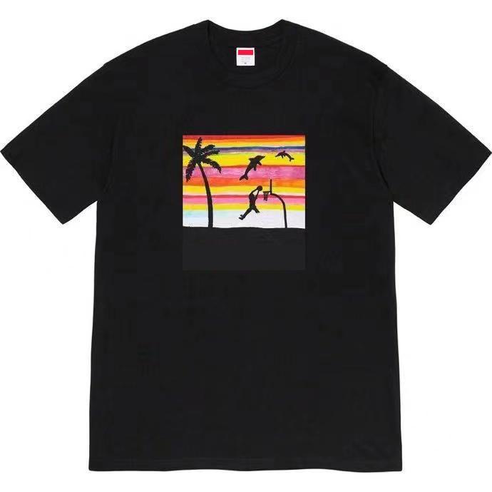 패션 디자이너 티 여름 TShirt 해변 농구 인쇄 반팔 남자 티셔츠 O 넥 EU 크기 탑스 캐주얼 스트리트웨어