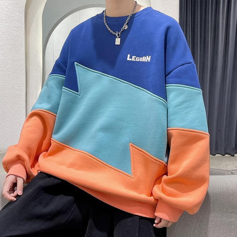 남자의 후드 스웨터 하라주쿠 스타일 일본 거리 스웨터 2021 한국어 스타일 렌드 스티치 라운드 넥 탑 가을