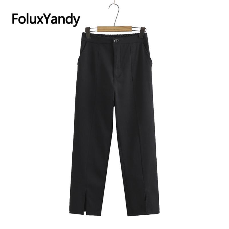 Yüksek Bel Pantolon Siyah Pantolon Rahat Gevşek Kadın Artı Boyutu Pantolon KKFY5427 210515