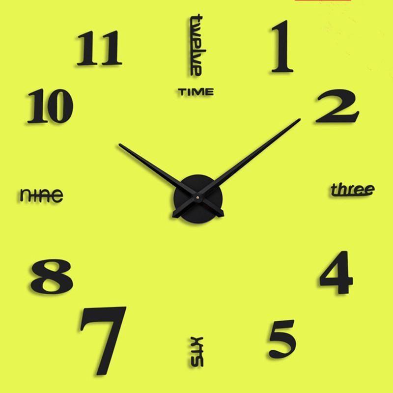 홈 거실 크리 에이 티브 벽 시계 아크릴 DIY 유럽 스타일 스티커 장식 시계