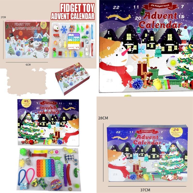 Christmas Fidget Brinquedos Brinquedos Caixas presentes 24 pcs definir advento calendário cego covinho decompressão brinquedo empurrar bolhas crianças presente de xmas por mar