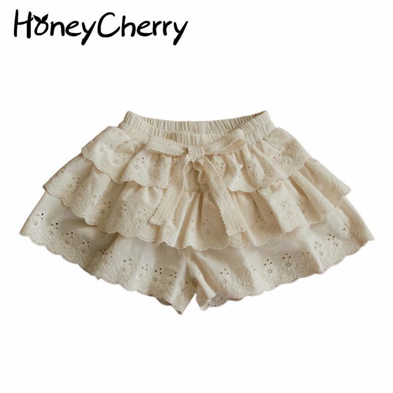 Shorts Verão 2021 Crianças Recorte Meninas Multi-Camada Lace Skirt Calças Crianças Para Meninas