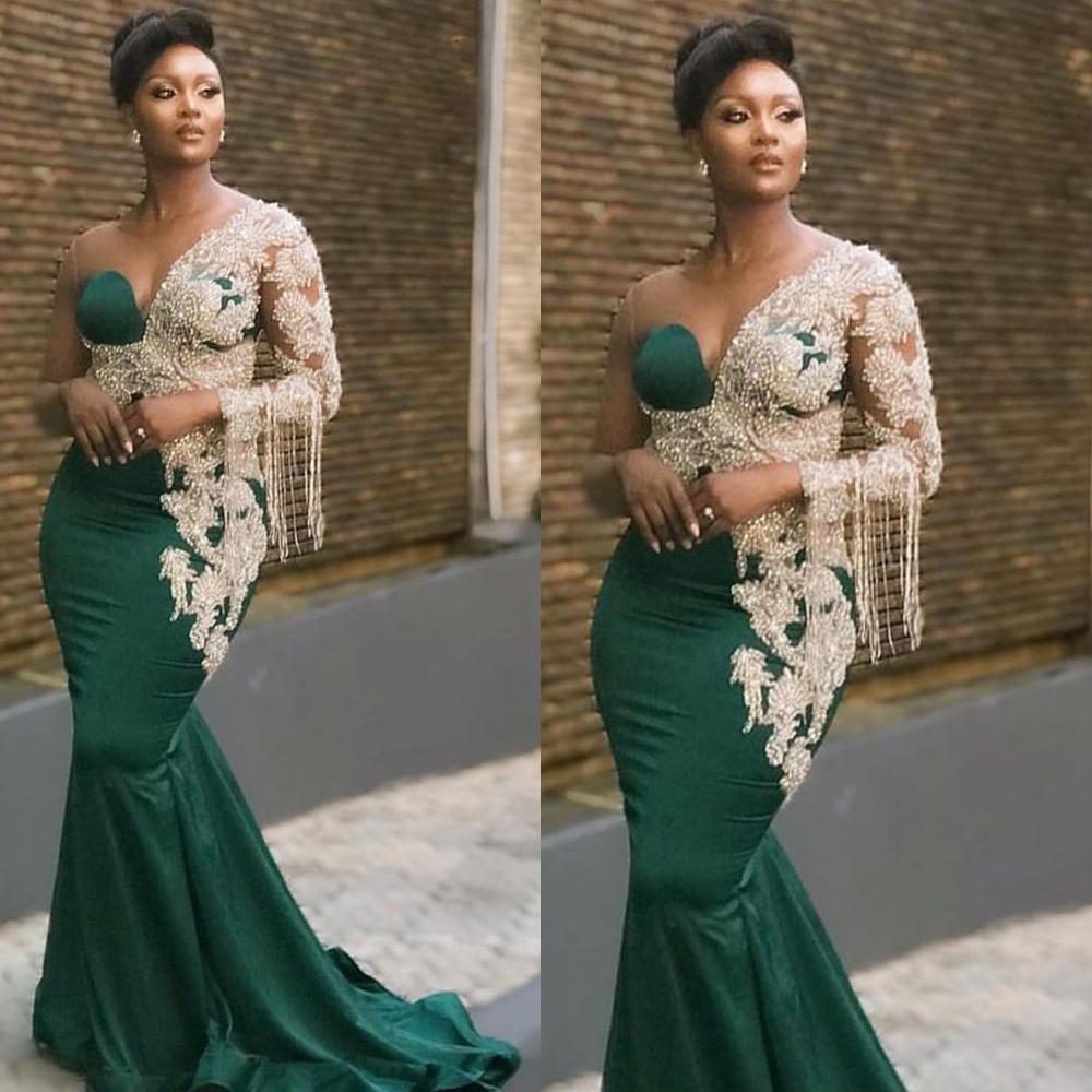 2021 Dubai Hunter Green Evening Dresses One Shoulder Long Sleeves Beaded Pearls Mermaid Sweep Train Custom Made Arabic Prom Party Gowns