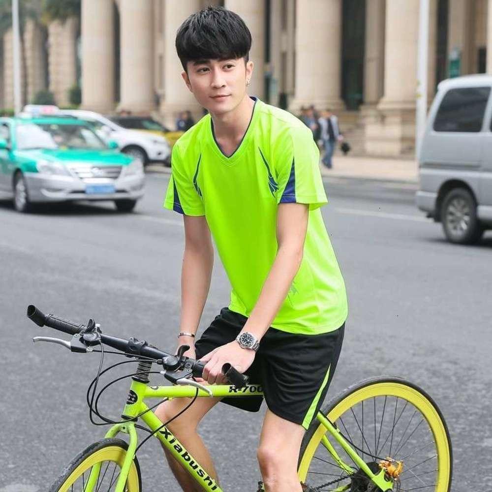Eşofman Erkek Koşu Takım Yaz Spor Kısa Kollu T-Shirt Hızlı Kuru Giysi Gevşek Rahat Spor Giysiler