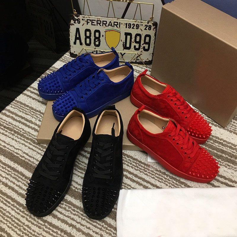 2021 الأزياء الأحمر أسفل الأحذية رصع المسامير رجل إمرأة الصلبة اللون حقيقي الجلود الأيائل الجلد المدربين في حزب الصيف الربيع عارضة أحذية رياضية 35-48 مع مربع