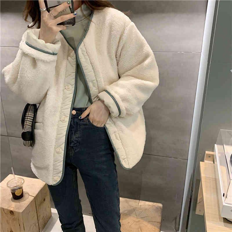 Hiver solide rembourré agbswool patchwork femme manteau coton chaud veste décontractée veste féminine d'huppé élégant tops 210417