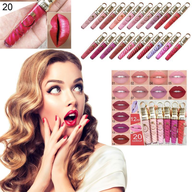 Lipgloss Sexy langlebiger wasserdichter flüssiger Lippenstift Velvet Matte Lipgloss 12ml