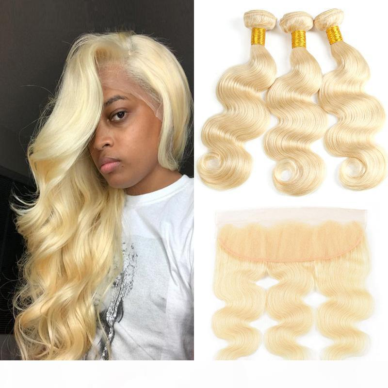 Brazilian Remy Straight Hair 3 Bundles with Lace Frontal 613 Blonde Body Wave Unprocesse Human Hair Weaves 613 Blonde Hair Extensions