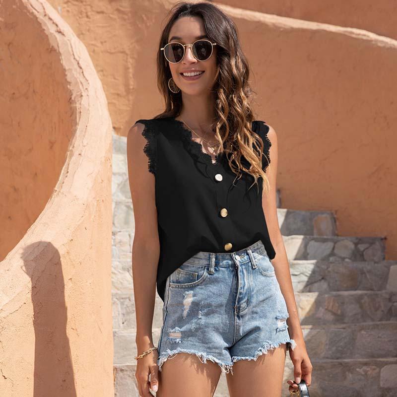 T-shirt das mulheres verão sem mangas em v-pescoço v-garganta cor sólida cor de costura casual colete respirável estética roupa harajuku senhoras camisa