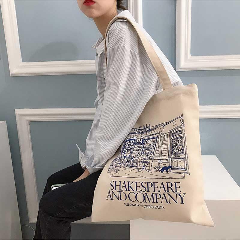 Bolsas de noite Mulheres Bolsas De Ombro Shakespeare Imprimir Senhoras Senhoras Compras De Algodão Tecido Tecido Mercearia Bolsas De Mercado Livros Para Meninas