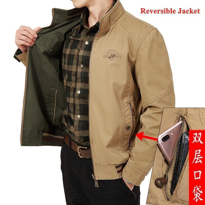 Jaquetas masculinas M-8XL Roupas Oversized Jaqueta Reversível 100% Algodão Casual Casal de meia-idade Casacos Masculinos Carrinho Colar De Colares Outerwear