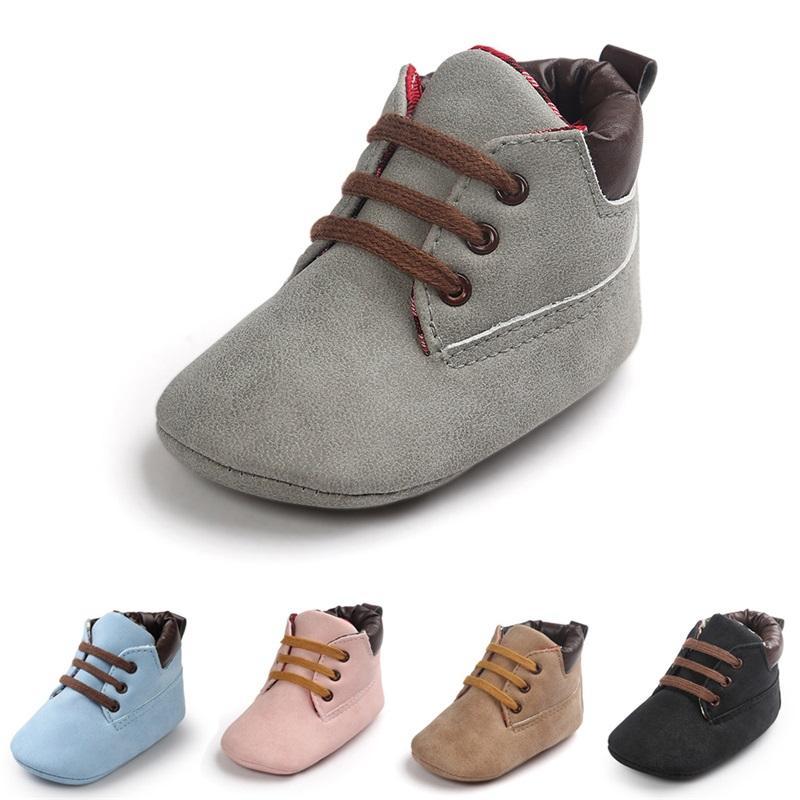 2021 Frühling / Herbst Infant Baby Boy Weiche Sohle PU-Leder Erste Wanderer Krippe Schuhe 0-18 Monate 1134 x2