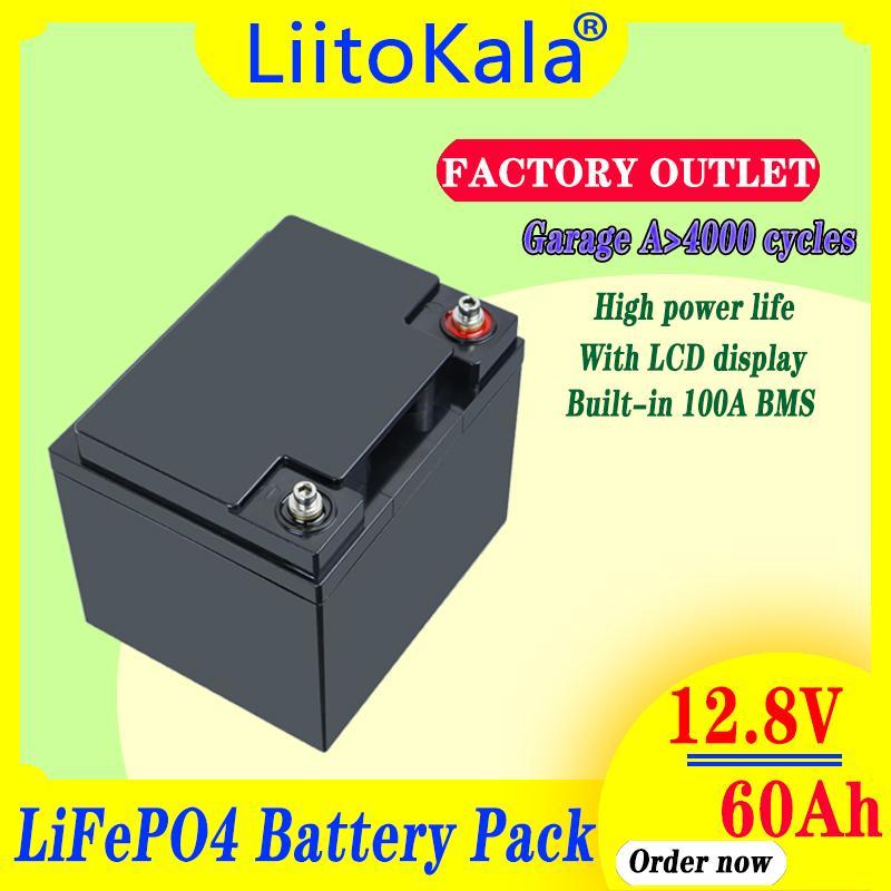 Liitokala 12V 50Ah 60ah Tiefzyklus LifePo4 wiederaufladbarer Akku 12.8V Lebenszyklen 4000 mit eingebautem BMS-Schutz und 14,6 V10a-Ladegerät
