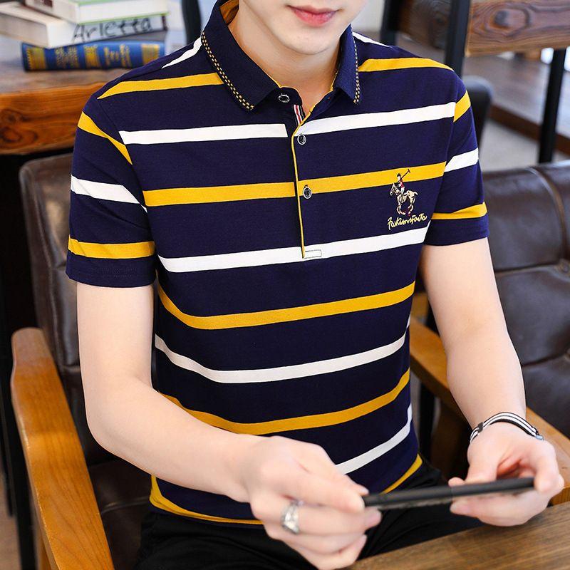 Factory3vhu Polo Рукав 2021 Новая мужская рубашка с короткими отворотами на полоску хлопка футболка мода деловой досуг Trend мужская одежда
