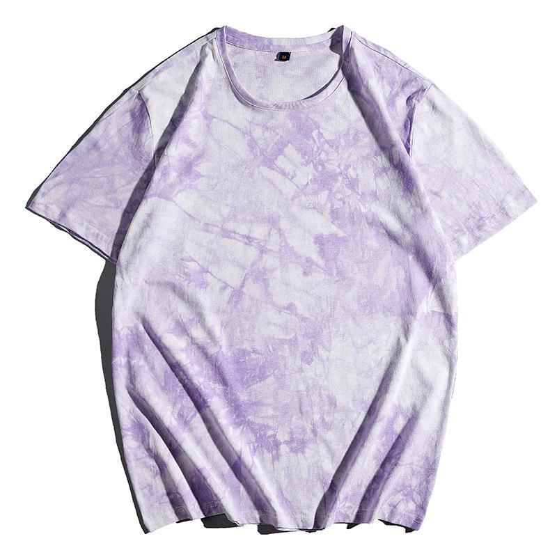 Yaz Gevşek T Gömlek Yuvarlak Boyun Açık Spor Eğlence Kısa Kollu Gelgit Marka Tie-Boya Moda Erkek Giyim